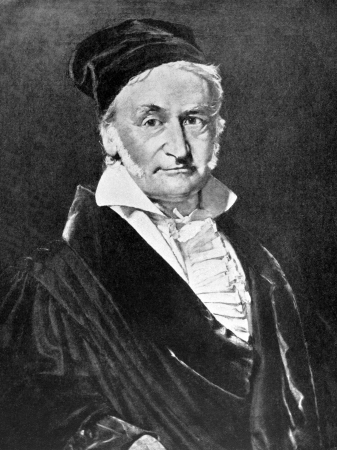 Carl Friedrich Gauss (1777-1855) on antique print from 1898. German mathematician and physical scientist. After Jensen and published in the 19th century in portraits, Germany, 1898. Editorial