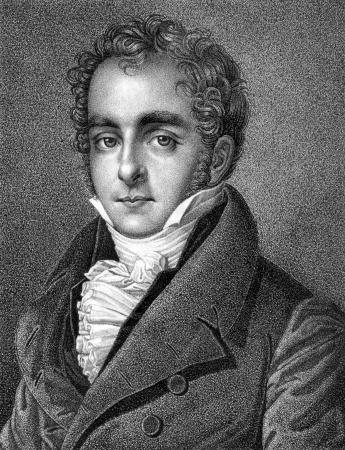 statesman: Casimir Pierre Perier (1777-1832) su incisione dal 1859. Statista francese. Incisione di autore ignoto e pubblicato in Meyers Konversations-Lexikon, Germania, 1859.