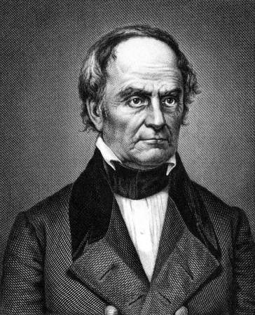 statesman: Daniel Webster (1782-1852) on engraving from 1859. Leading American statesman and senator. Engraved by unknown artist and published in Meyers Konversations-Lexikon, Germany,1859.