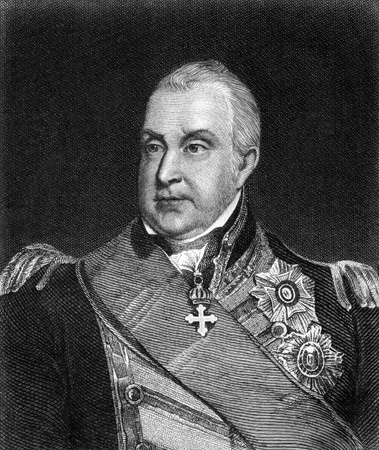 unifrom: Edward Pellew, 1st Viscount Exmouth (1757-1833) on engraving from 1859.  British naval officer. Engraved by unknown artist and published in Meyers Konversations-Lexikon, Germany,1859.