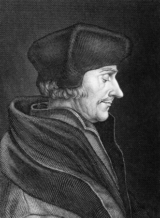 theologian: Desiderius Erasmus (1466-1536) on engraving from 1859. Dutch Renaissance humanist, Catholic priest, social critic, teacher and theologian. Engraved by C.Barth and published in Meyers Konversations-Lexikon, Germany,1859. Editorial