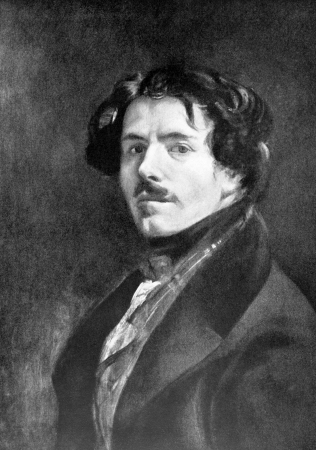 eugene: Eugene Delacroix (1798-1863) on antique print from 1898. French Romantic painter. After unknown artist and published in the 19th century in portraits, Germany, 1898.