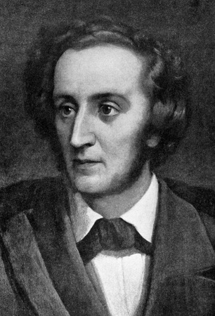 composer: Felix Mendelssohn (1809-1847) on engraving from 1908. German composer, pianist, organist and conductor of the early Romantic period. Engraved by unknown artist and published in The worlds best music, famous songs. Volume 6, by The University Society, N