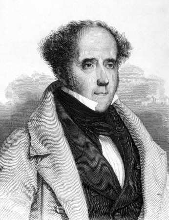 historian: Francois Rene de Chateaubriand (1768-1848) on engraving from 1859. French writer, politician, diplomat and historian. Engraved by unknown artist and published in Meyers Konversations-Lexikon, Germany,1859. Editorial