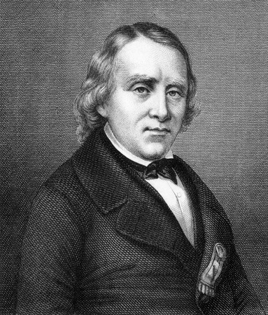 Francois Vincent Raspail (1794-1878) on engraving from 1859. French chemist, naturalist, physiologist & socialist politician. Engraved by unknown artist and published in Meyers Konversations-Lexikon, Germany, 1859.