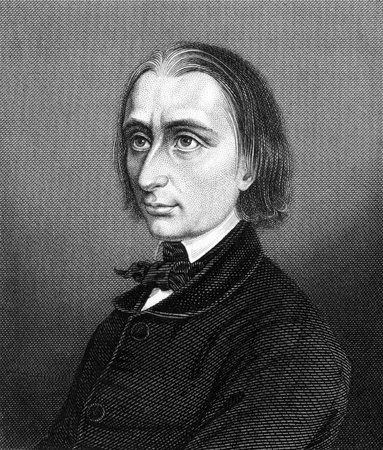 liszt: Franz Liszt (1811-1886) on engraving from 1859. Hungarian composer, pianist, conductor and teacher. Engraved by unknown artist and published in Meyers Konversations-Lexikon, Germany,1859.