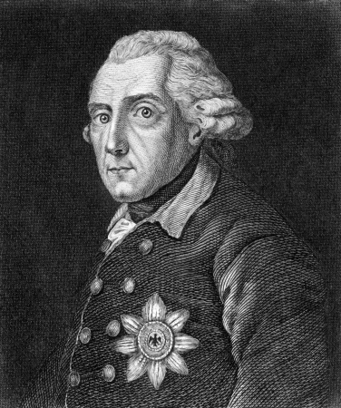 ii: Frederick II (1712-1786) on engraving from 1859. King of Prussia during 1740-1786. Engraved by unknown artist and published in Meyers Konversations-Lexikon, Germany,1859. Editorial