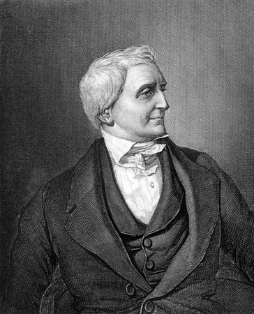 friedrich: Friedrich Christoph Schlosser (1776-1861) on engraving from 1859. German historian. Engraved by Barfus and published in Meyers Konversations-Lexikon, Germany,1859.