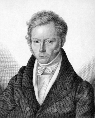 archaeologist: Friedrich Gottlieb Welcker (1784-1868) on engraving from 1859. German classical philologist and archaeologist. Engraved by Nordheim and published in Meyers Konversations-Lexikon, Germany,1859. Editorial