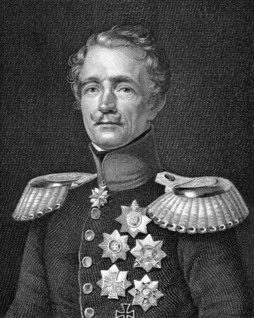 graf: Friedrich Graf von Wrangel (1784-1877) on engraving from 1859. General feld marschall of the Prussian Army. Engraved by A.Weger and published in Meyers Konversations-Lexikon, Germany,1859.