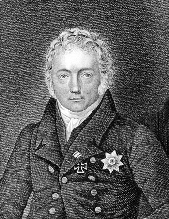 friedrich: Friedrich von Motz (1775-1830) on engraving from 1859. Prussian politician. Engraved by G.Kruger and published in Meyers Konversations-Lexikon, Germany,1859.