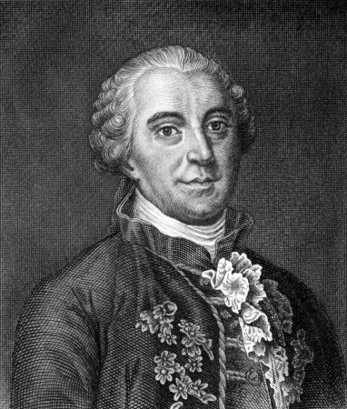mathematician: Georges-Louis Leclerc, Comte de Buffon (1707-1788) on engraving from 1859. French naturalist, mathematician, cosmologist and encyclopedic author. Engraved by unknown artist and published in Meyers Konversations-Lexikon, Germany,1859. Editorial