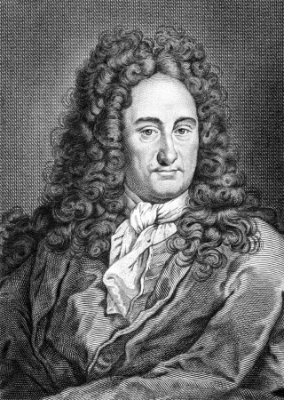 Gottfried Leibniz (1646-1716) on engraving from 1859. German mathematician and philosopher. Engraved by unknown artist and published in Meyers Konversations-Lexikon, Germany,1859. Editorial
