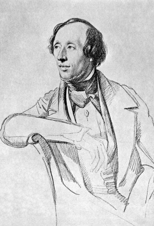 noted: Hans Christian Andersen (1805-1875) on antique print from 1899. Danish author, fairy tale writer and poet noted for his childrens stories. After Vogel and published in the 19th century in portraits, Germany, 1899.