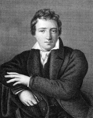 Heinrich Heine (1797-1856) auf Stich aus 1859. Deutsch Dichter. Gestochen von unbekannten Künstler und veröffentlichte in Meyers Konversations-Lexikon, Deutschland, 1859.