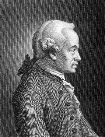 Emmanuel Kant (1724-1804) sur la gravure de 1859. Philosophe allemand. Gravé par un artiste inconnu et publié dans Meyers Konversations-Lexikon, en Allemagne, en 1859. Banque d'images - 15112551