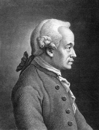 Immanuel Kant (1724-1804) on engraving from 1859. German philosopher. Engraved by unknown artist and published in Meyers Konversations-Lexikon, Germany,1859.