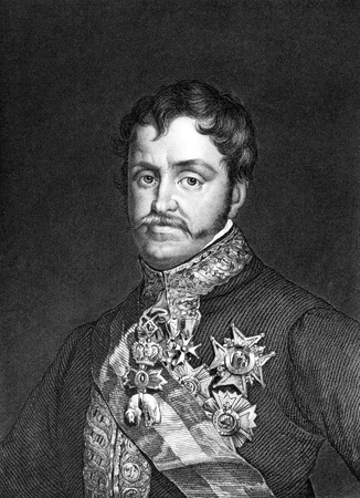unifrom: Infante Carlos, Count of Molina (1788-1855) on engraving from 1859. Son of King Charles IV of Spain. Engraved by unknown artist and published in Meyers Konversations-Lexikon, Germany,1859. Editorial