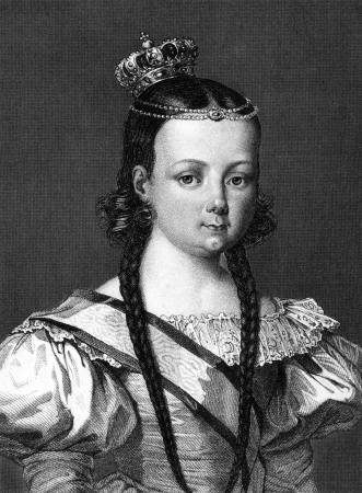 queen isabella: Isabella II of Spain (1830-1904) on engraving from 1859.  The only Queen regnant of Spain in modern times. Engraved by unknown artist and published in Meyers Konversations-Lexikon, Germany,1859. Editorial