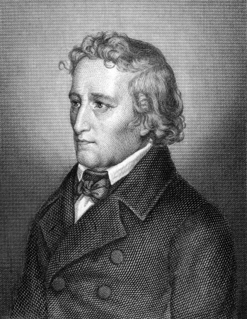 jurist: Jacob Grimm (1785-1863) on engraving from 1859. German philologist, jurist and mythologist. Engraved by unknown artist and published in Meyers Konversations-Lexikon, Germany,1859.