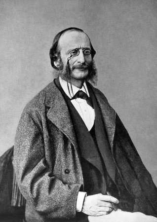 composer: Jacques Offenbach (1819-1880) on antique print from 1899. German-born French composer, cellist and impresario of the romantic period. After Nadar and published in the 19th century in portraits, Germany, 1899.