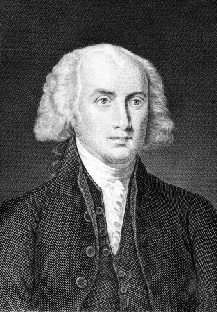 James Madison (1751-1836) on engraving from 1859. Fourth President of the United States during 1809–1817. Engraved by unknown artist and published in Meyers Konversations-Lexikon, Germany,1859.