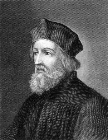 reformer: Jan Hus (1369-1415) on engraving from 1859.  Czech priest, philosopher, reformer and master at Charles University in Prague. Engraved by Holbein and published in Meyers Konversations-Lexikon, Germany,1859. Editorial