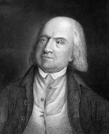 Jeremy Bentham (1748-1832) sur la gravure de 1859. Philosophe anglais, réformateur juriste et sociale. Gravé par un artiste inconnu et publié dans Meyers Konversations-Lexikon, en Allemagne, en 1859. Banque d'images - 15111501