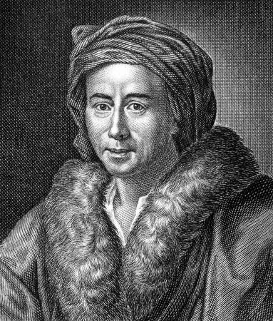 archaeologist: Johann Joachim Winckelmann (1717-1768) on engraving from 1859.  German art historian and archaeologist. Engraved by unknown artist and published in Meyers Konversations-Lexikon, Germany,1859.