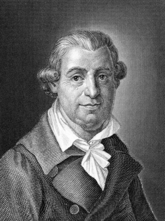 karl: Johann Karl August Musaus (1735-1787) on engraving from 1859. German author. Engraved by unknown artist and published in Meyers Konversations-Lexikon, Germany,1859. Editorial