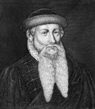 Johannes Gutenberg (1398-1468) sur la gravure de 1859. Forgeron allemand, orfèvre, une imprimante, et l'éditeur qui a introduit l'impression en Europe. Gravé par un artiste inconnu et publié dans Meyers Konversations-Lexikon, en Allemagne, en 1859. Banque d'images - 15110252