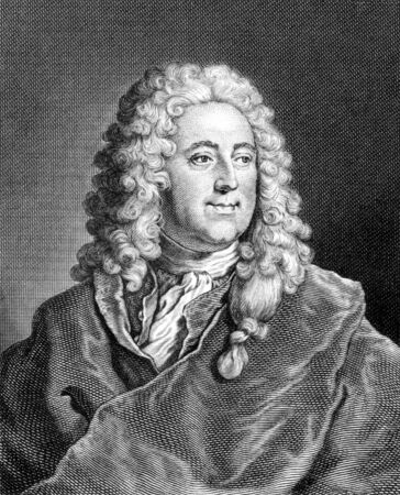 economist: John Law (1671-1729) on engraving from 1859. Scottish economist. Engraved by unknown artist and published in Meyers Konversations-Lexikon, Germany,1859.