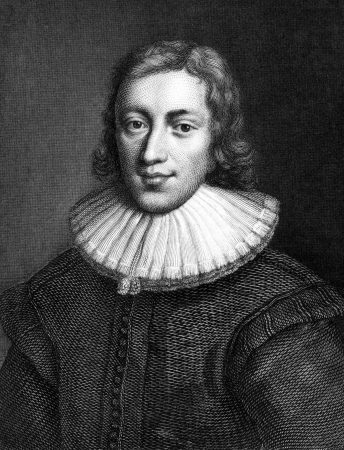 scholarly: John Milton (1608-1674) on engraving from 1859. English poet, polemicist, a scholarly man of letters, and a civil servant. Engraved by C.Mayer and published in Meyers Konversations-Lexikon, Germany,1859.