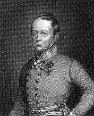 nobleman: Joseph Radetzky von Radetz (1766-1858) on engraving from 1859. Czech nobleman and Austrian general. Engraved by G.Wolf and published in Meyers Konversations-Lexikon, Germany,1859.