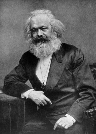 Karl Marx (1818-1883) on antique print from 1899.  German philosopher, economist, sociologist, historian, journalist and revolutionary socialist. After Pinkau & Gehler and published in the 19th century in portraits, Germany, 1899.