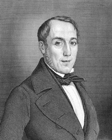 statesman: Karl Mathy (1807-1868) su incisione dal 1859. Badensian statista. Incisione di autore ignoto e pubblicato in Meyers Konversations-Lexikon, Germania, 1859. Editoriali
