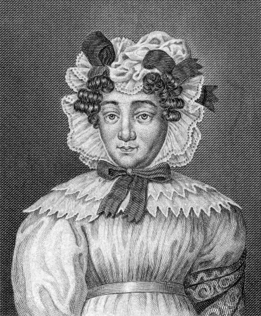 Karoline Pichler (1769-1843) on engraving from 1859.  Austrian novelist. Engraved by unknown artist and published in Meyers Konversations-Lexikon, Germany,1859.