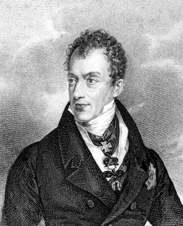 statesman: Klemens von Metternich (1773-1859) on engraving from 1859. German-born Austrian politician and statesman. Engraved by unknown artist and published in Meyers Konversations-Lexikon, Germany,1859. Editorial