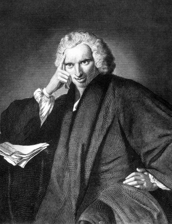 laurence: Laurence Sterne (1713-1768) on engraving from 1859. Anglo-Irish novelist and an Anglican clergyman. Engraved by unknown artist and published in Meyers Konversations-Lexikon, Germany,1859.