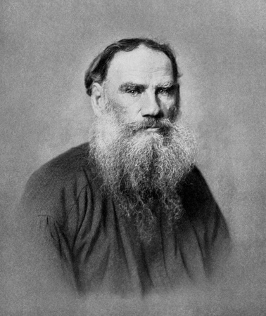 Leo Tolstoy (1828-1910) on antique print from 1899. Russian writer. After unknown artist and published in the 19th century in portraits, Germany, 1899.