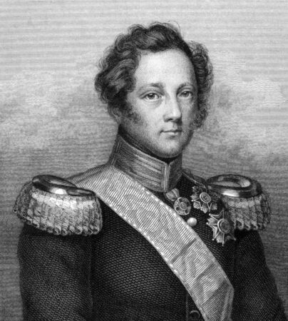 unifrom: Leopold, Grand Duke of Baden (1790-1852) on engraving from 1859. Engraved by unknown artist and published in Meyers Konversations-Lexikon, Germany,1859.