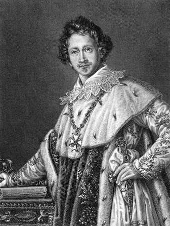 ludwig: Ludwig I of Bavaria (1786-1868) on engraving from 1859. German king of Bavaria during1825-1848. Engraved by C.Barth and published in Meyers Konversations-Lexikon, Germany,1859. Editorial