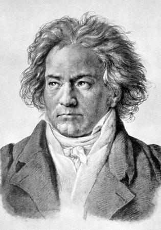 Ludwig van Beethoven (1770-1827) op antieke afdruk uit 1898. Duitse componist en pianist, een van de meest beroemde en invloedrijke van alle tijden. Na Klöber en gepubliceerd in de 19e eeuw in portretten, Duitsland, 1898.