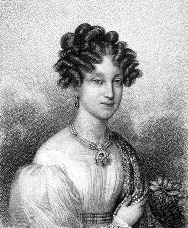 louise: Marie Louise, Duchess of Parma (1791-1847) on engraving from 1859. Second wife of Napoleon I. Engraved by unknown artist and published in Meyers Konversations-Lexikon, Germany,1859.  Editorial