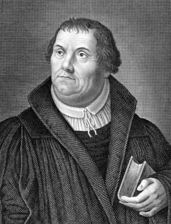 theology: Martin Luther (1483-1546) on engraving from 1859. German monk, priest, professor of theology and iconic figure of the Protestant Reformation. Engraved by Nordheim and published in Meyers Konversations-Lexikon, Germany,1859.