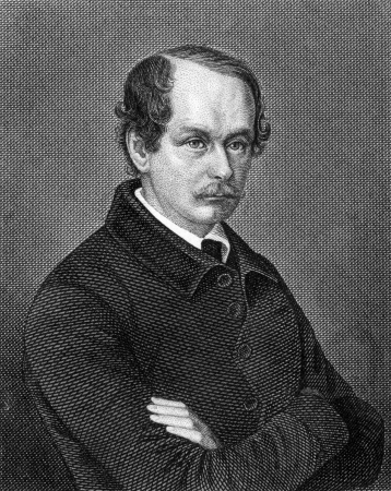 Matthias Jakob Schleiden (1804-1881) on engraving from 1859. German botanist and co-founder of the cell theory. Engraved by unknown artist and published in Meyers Konversations-Lexikon, Germany,1859.