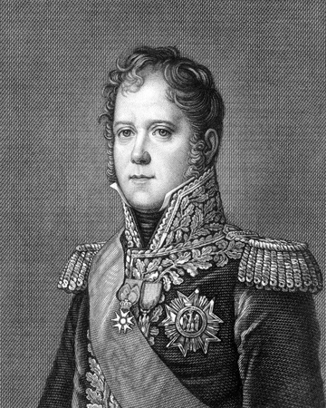 michel: Michel Ney (1769-1815) on engraving from 1859. French soldier and military commander during the French Revolutionary Wars and the Napoleonic Wars. Engraved by unknown artist and published in Meyers Konversations-Lexikon, Germany,1859.