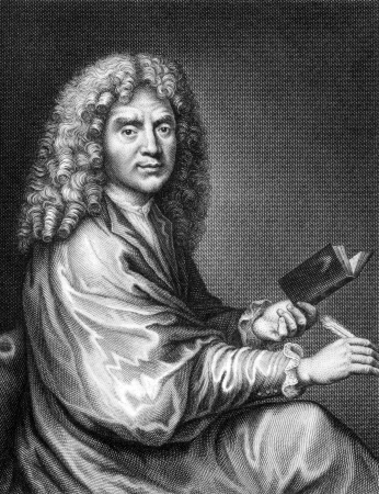 Moliere (1622-1676) on engraving from 1859. French playwright and actor, one of the greatest masters of comedy in Western literature. Engraved by Nordheim and published in Meyers Konversations-Lexikon, Germany,1859.