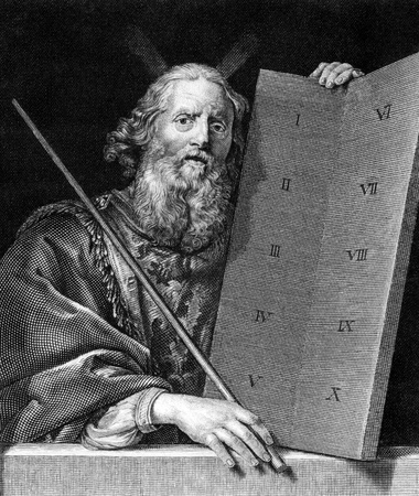 Moses with the tablets of the Ten Commandments on engraving from 1859. Engraved by unknown artist and published in Meyers Konversations-Lexikon, Germany,1859.