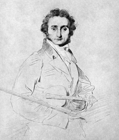 Niccolo Paganini (1782-1840) on antique print from 1899. Italian violinist, violist, guitarist and composer. After Calamatta and published in the 19th century in portraits, Germany, 1899. Editorial